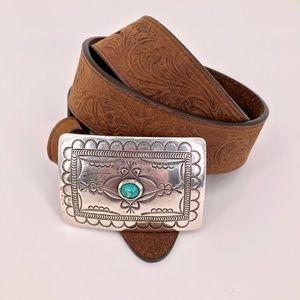 Tony Lama  Navajo Spirit Embossed Leather Belt 34